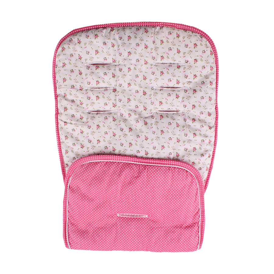 Universal Reversible Pushchair Liner - Cream with Pink Floral and Pink with White Dots
