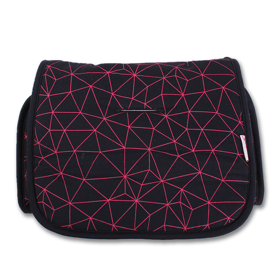 Black with Fuchsia Geometric design. Car Seat/ Pushchair