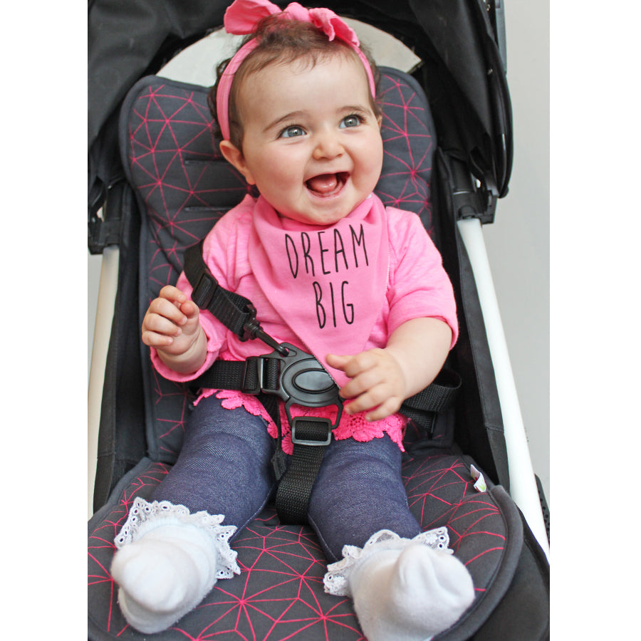 Reversible Jersey Cotton Pushchair/ Car Seat Liner - Black with Fuchsia Geometric design