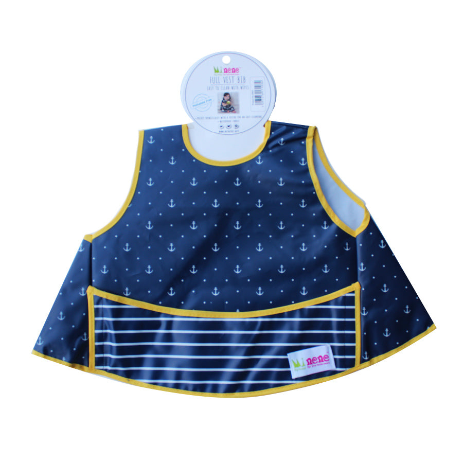 Full Vest Bib - Waterproof - Velcro Fastening - Front Pocket - Dark Blue with Anchors Design
