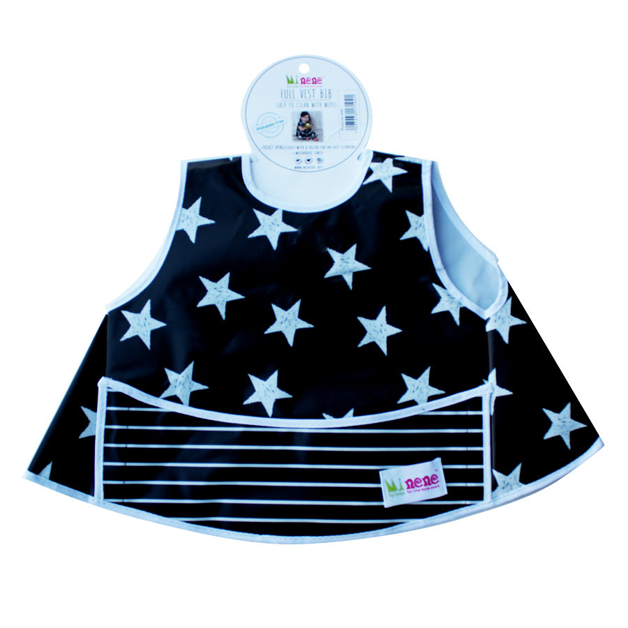 Full Vest Bib - Waterproof - Velcro Fastening - Front Pocket - Dark Blue with White Stars Design
