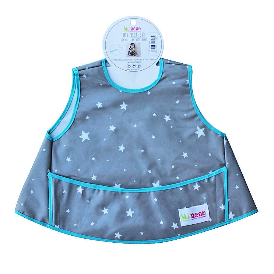 Full Vest Bib - Waterproof - Velcro Fastening - Front Pocket - Grey with White Stars Design turquoise trim
