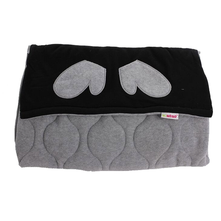 Cosy Footmuff, Fleece, Two in One, Removable Top Section, Universal Fit, Dark Grey & Black Fleece with Grey Gloves Applique Design
