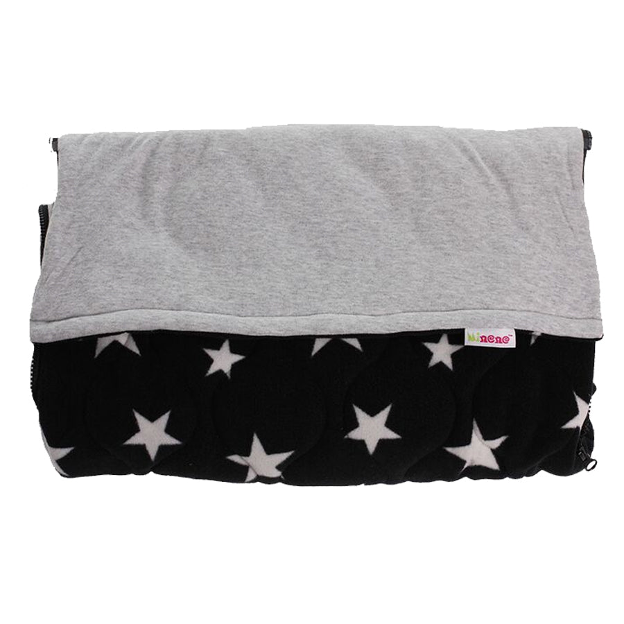 Cosy Footmuff, Fleece, Two in One, Removable Top Section, Universal Fit, Black & Grey Fabric Grey Star Design