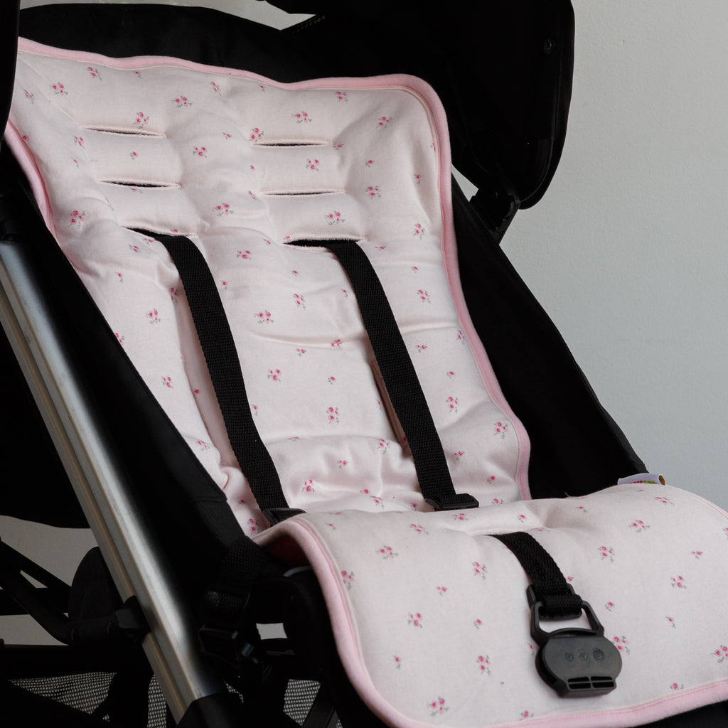 Reversible Jersey Cotton Pushchair / Car Seat Liner - Pale Pink Ditsy Floral