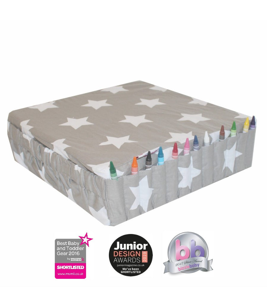 Booster Cushion for Chairs, Secure Straps, Side Pocket, Crayon Holders, Grey Fabric with White Stars
