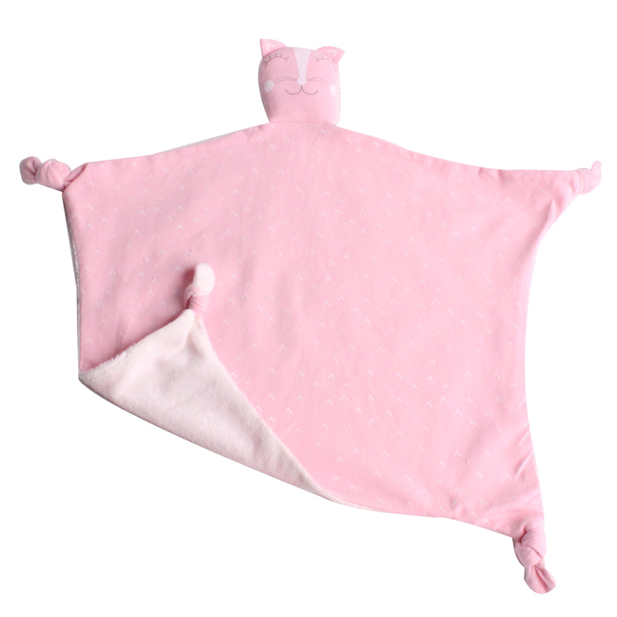 Pink Kitty Comfort blanket.White soft fleece on reverse.
