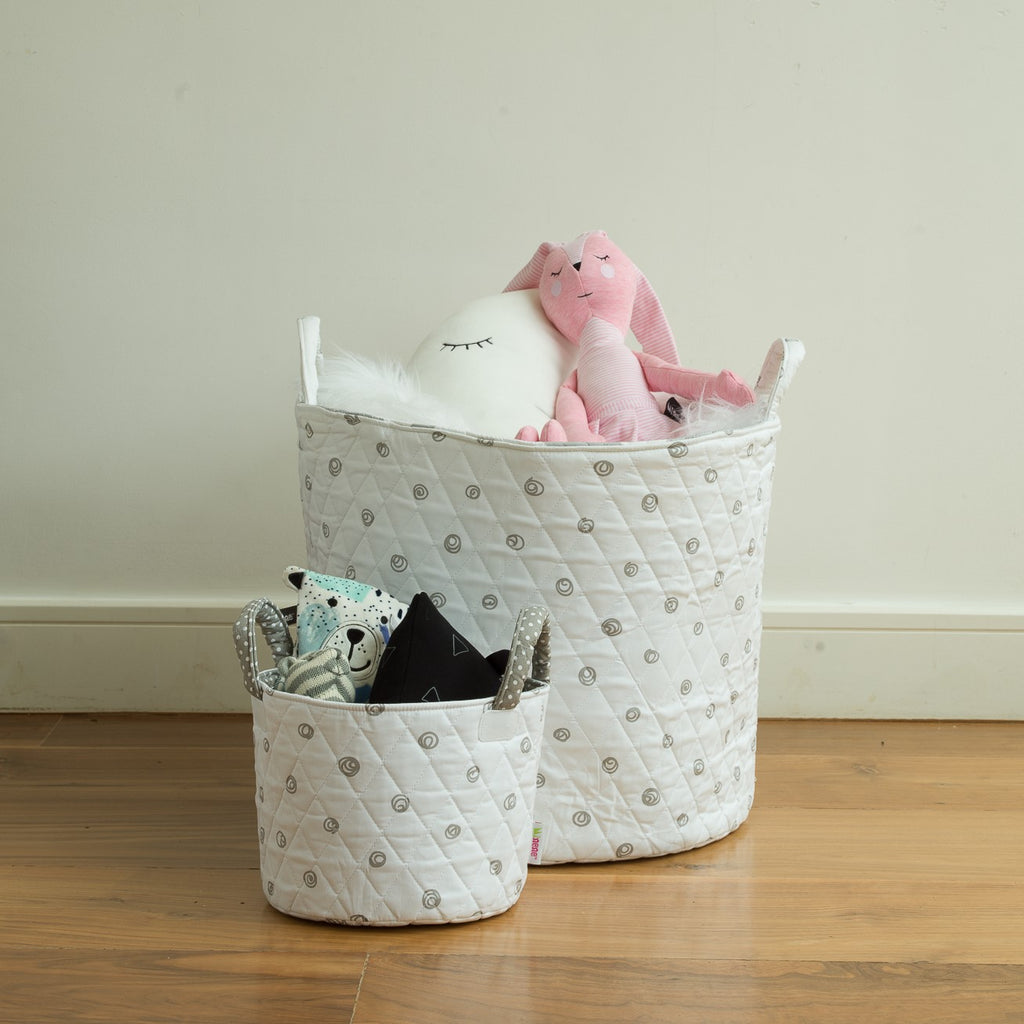 1 x Large Storage Basket - White Fabric with Grey Scribble Dots  1 x Small Storage Basket - White Fabric with Grey Scribble Dots