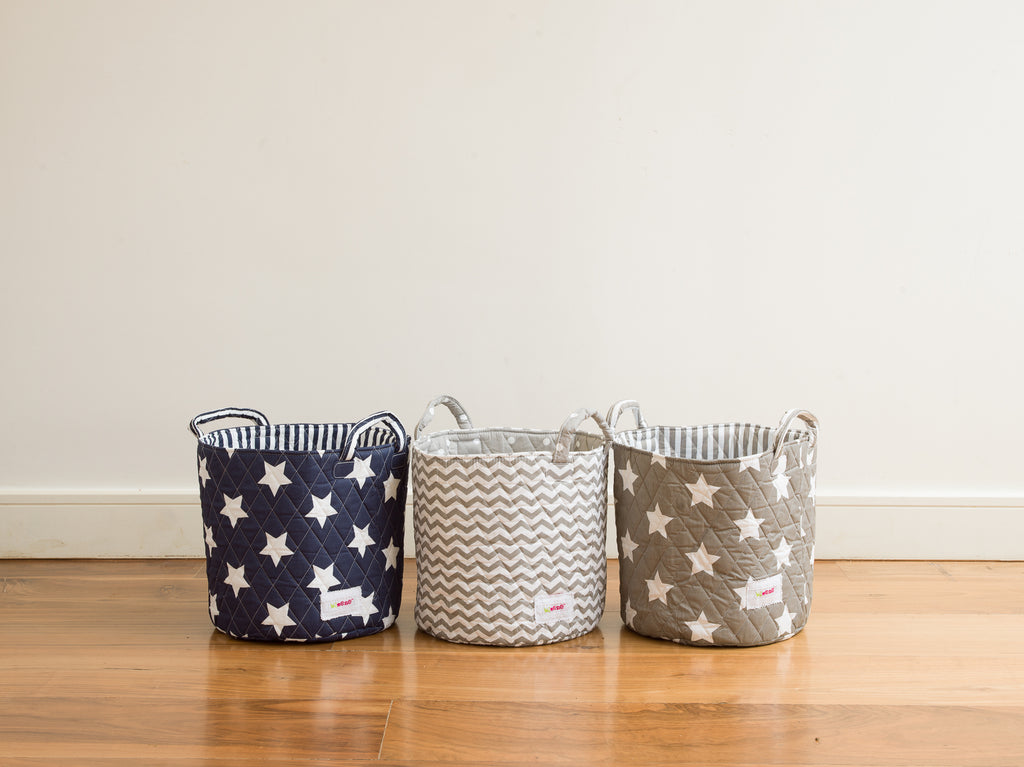 Small Storage Basket - Grey with White Star