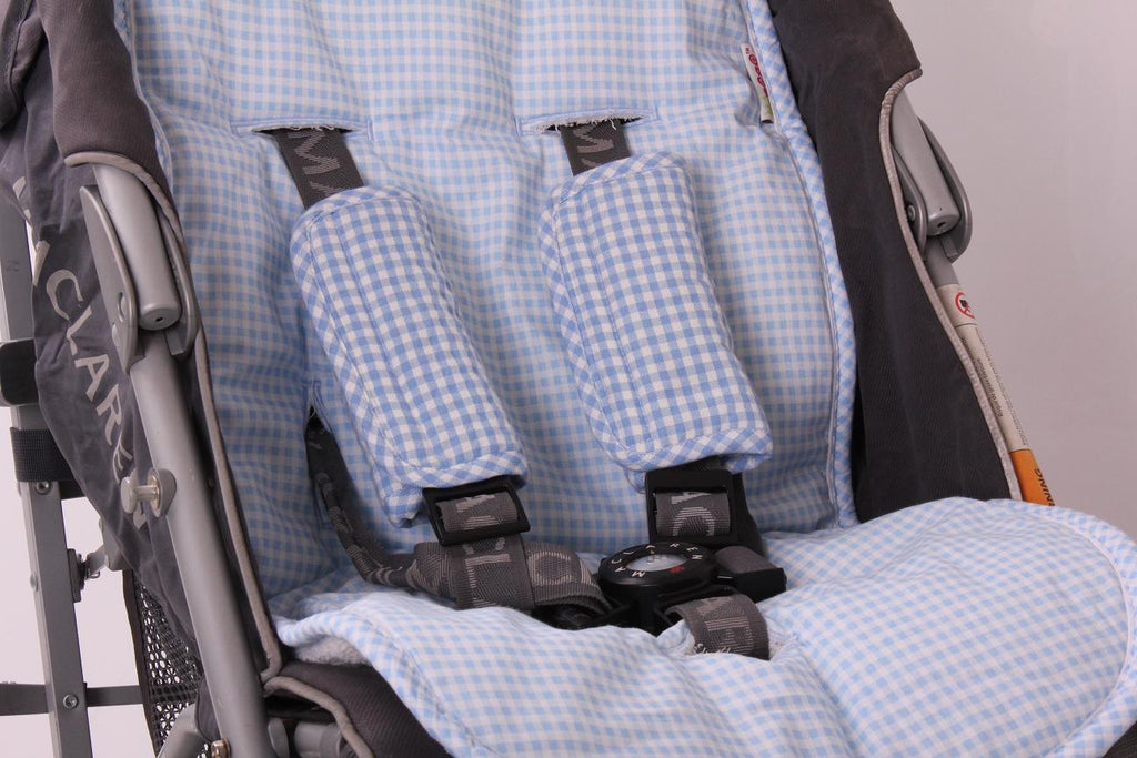 Pushchair / Car Seat Liner + Safety Strap Set - Light Blue Gingham