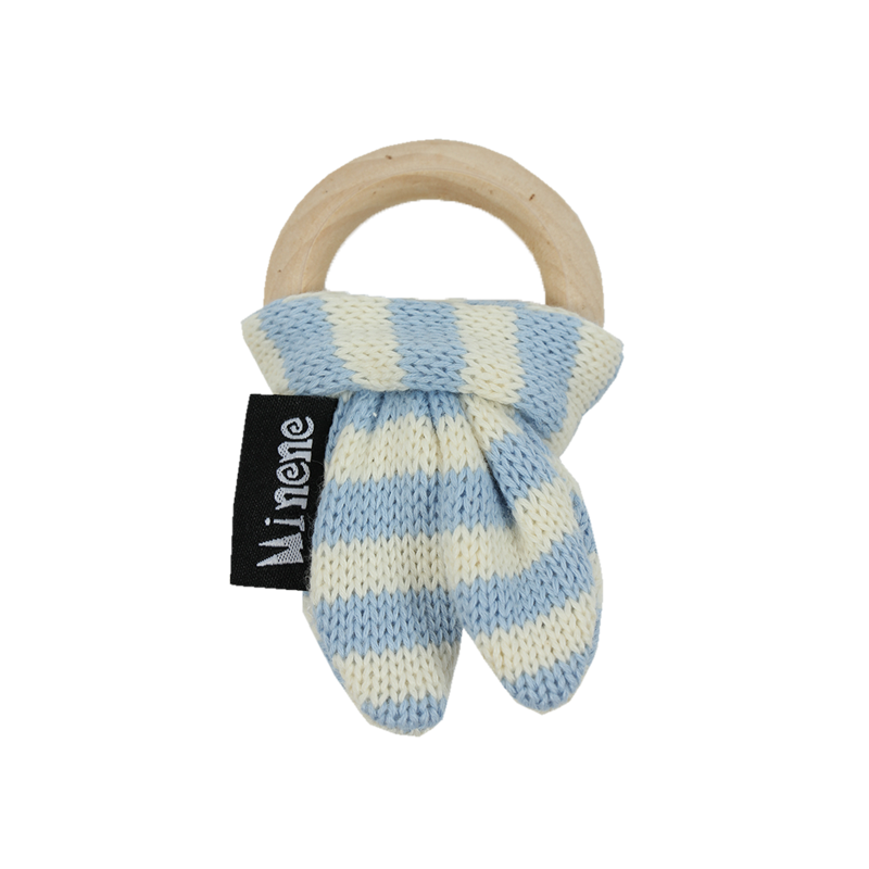 blue and white bunny ears wooden teething ring