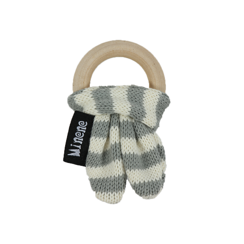 Wooden Teething Ring - Grey and White Stripes