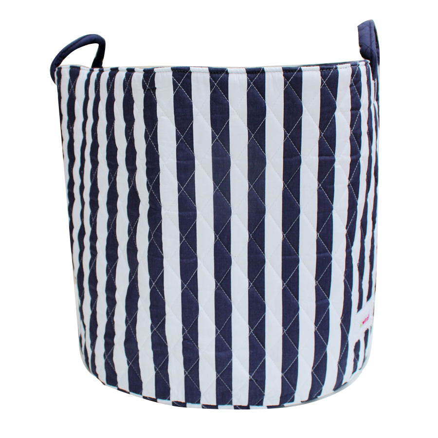 Fabric Storage Basket, Large 44cm Size, Handles, Navy Fabric with Vertical White Stripes Print