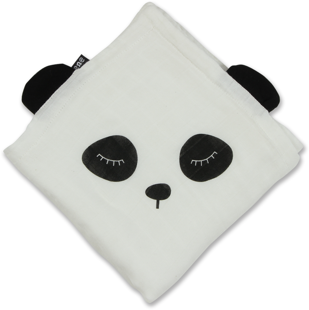 White bamboo swaddle with Black Panda Print & Black Floppy Panda Ears