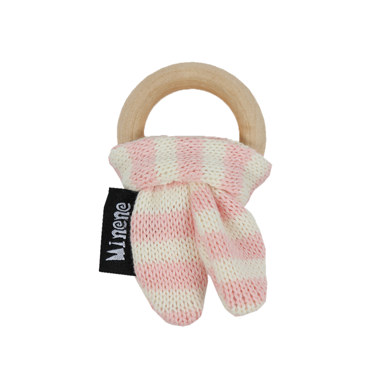 pink and white bunny ears wooden teething ring