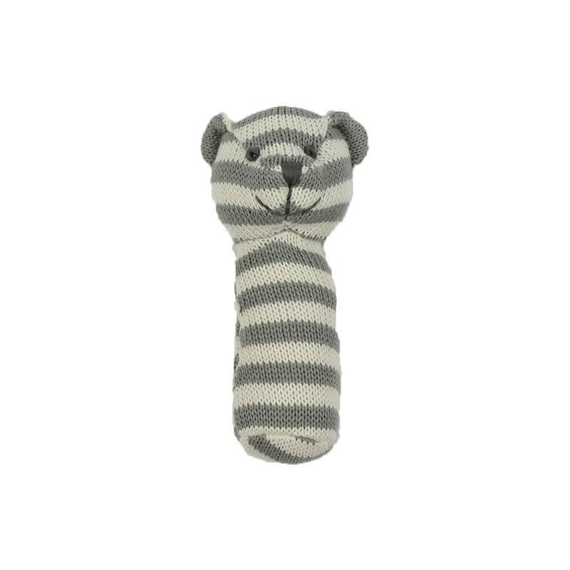 Knitted Rattle - Grey and White Striped Bear