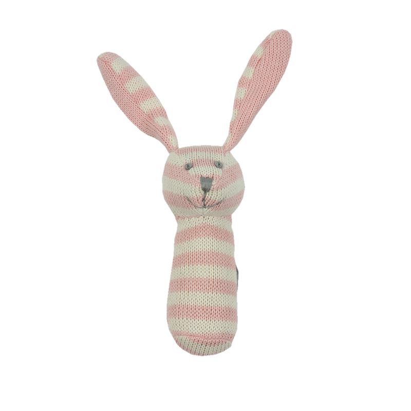 Knitted Rattle - Pink and White Striped Bunny