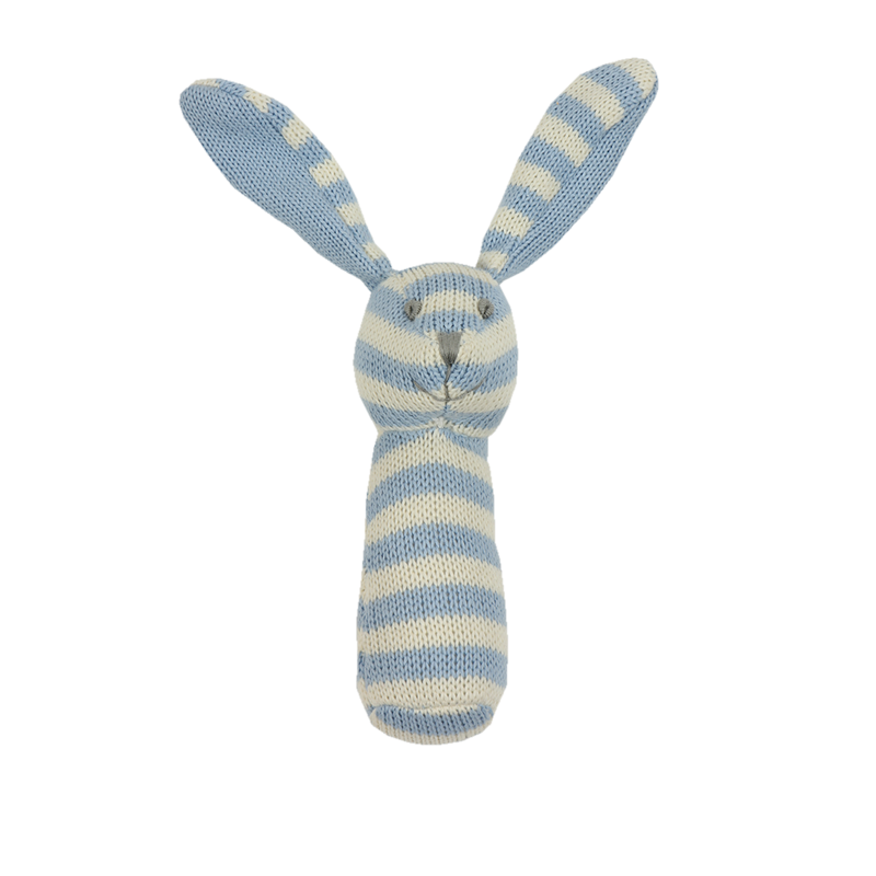 Knitted Rattle - Blue and White Striped Bunny