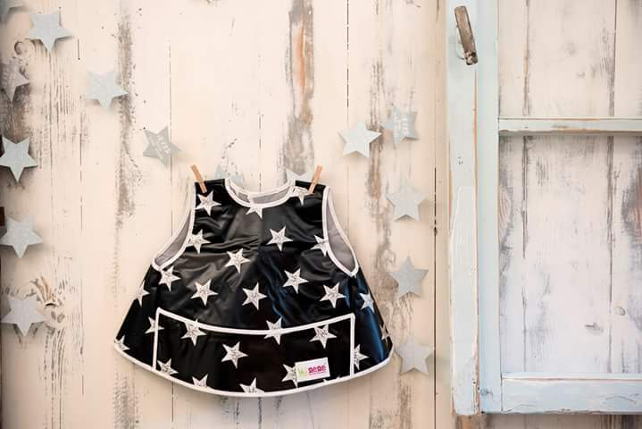 Full Vest Bib - Waterproof - Velcro Fastening - Front Pocket - Black with White Stars Design