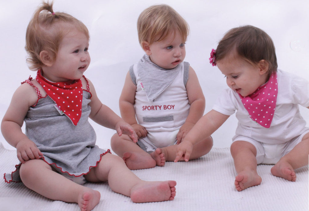 grey stripe, red stripe and grey spot bandana bib trio.