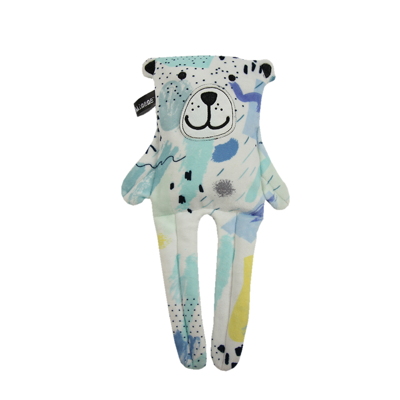 Light blue Bunny reversible toy with multicoloured print on reverse.