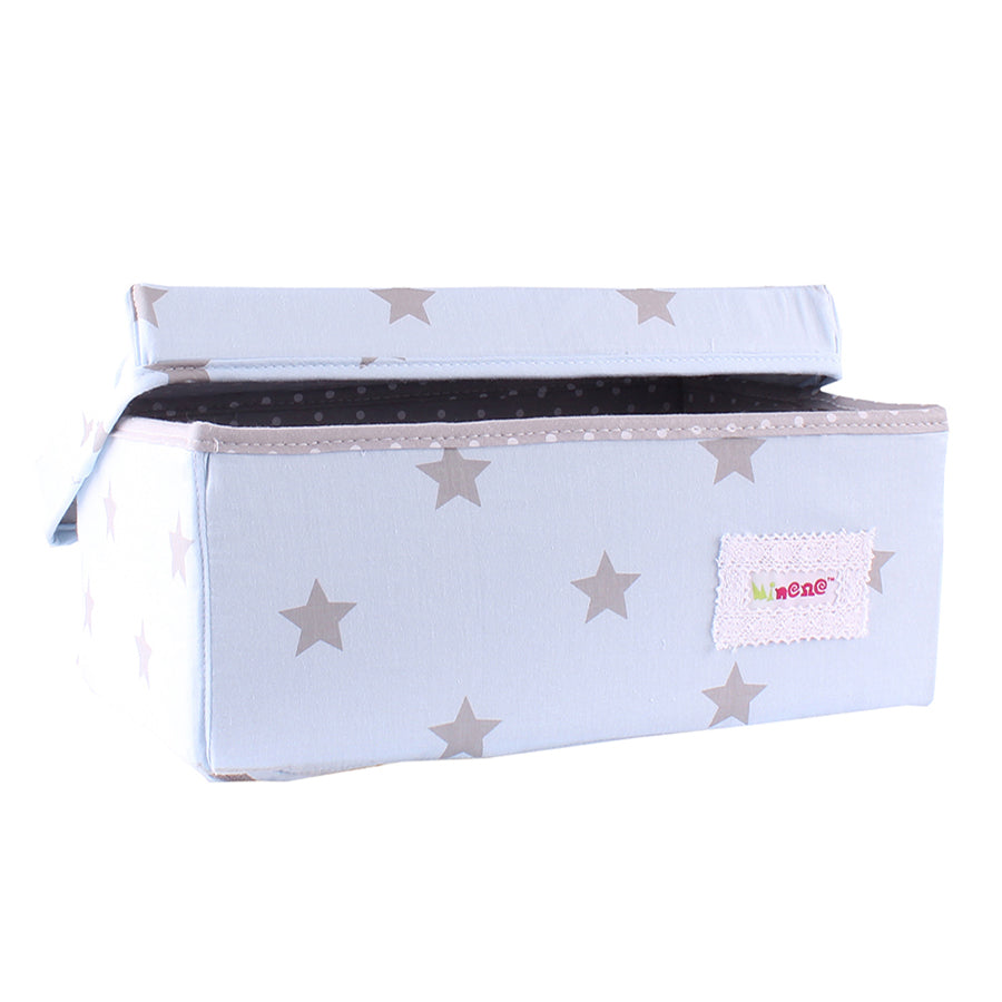 Fabric Storage Box Small 32cm Size, Rigid Sides, Pale Blue Fabric with grey Star Print