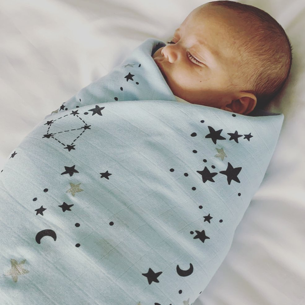 Light Blue bamboo swaddle with Black Print (Space Cat, Moons and Stars)