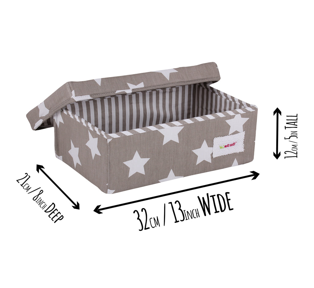 small box Grey with white stars with a grey and white stripe interior.