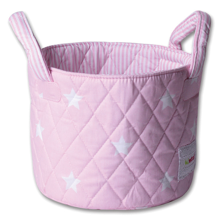 Fabric Storage Basket Small 22*18cm Size, Handles, Pink Fabric with White Star Print