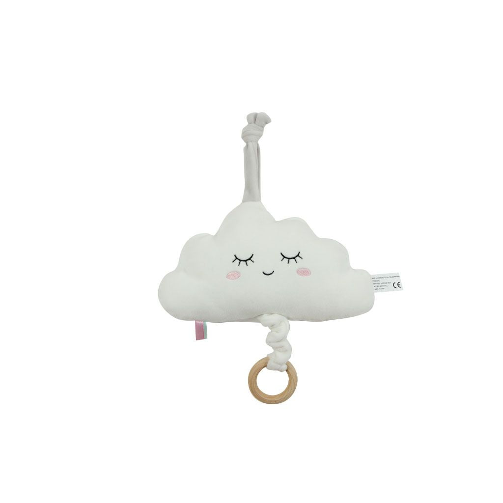 White Fabric Cloud Music Toy Shape with Wooden Ring Pull. cot, car seat or pram. Plays Brahms Lullaby for 1min15sec