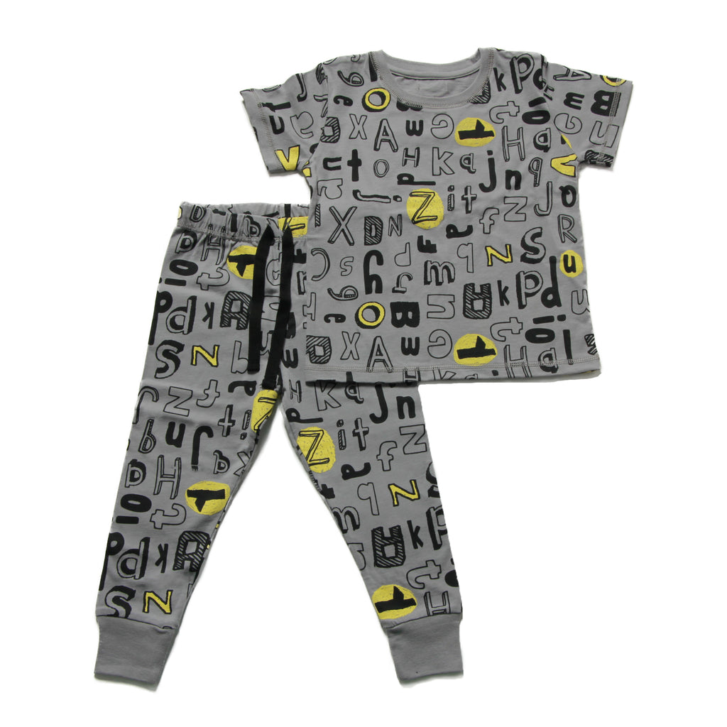 Boy's Pyjamas - Grey ABC Print - 5-6y