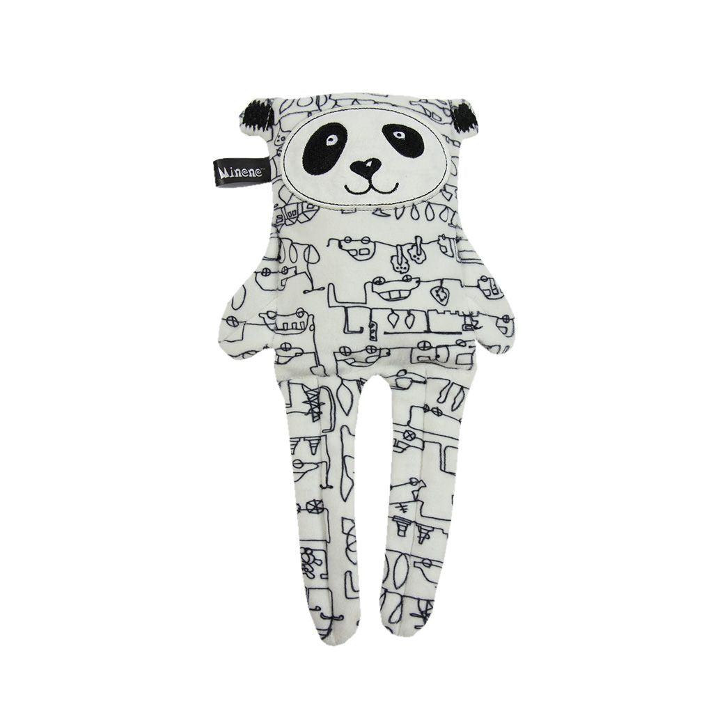 Reversible toy. Grey bunny and on reverse white and black car print teddy.