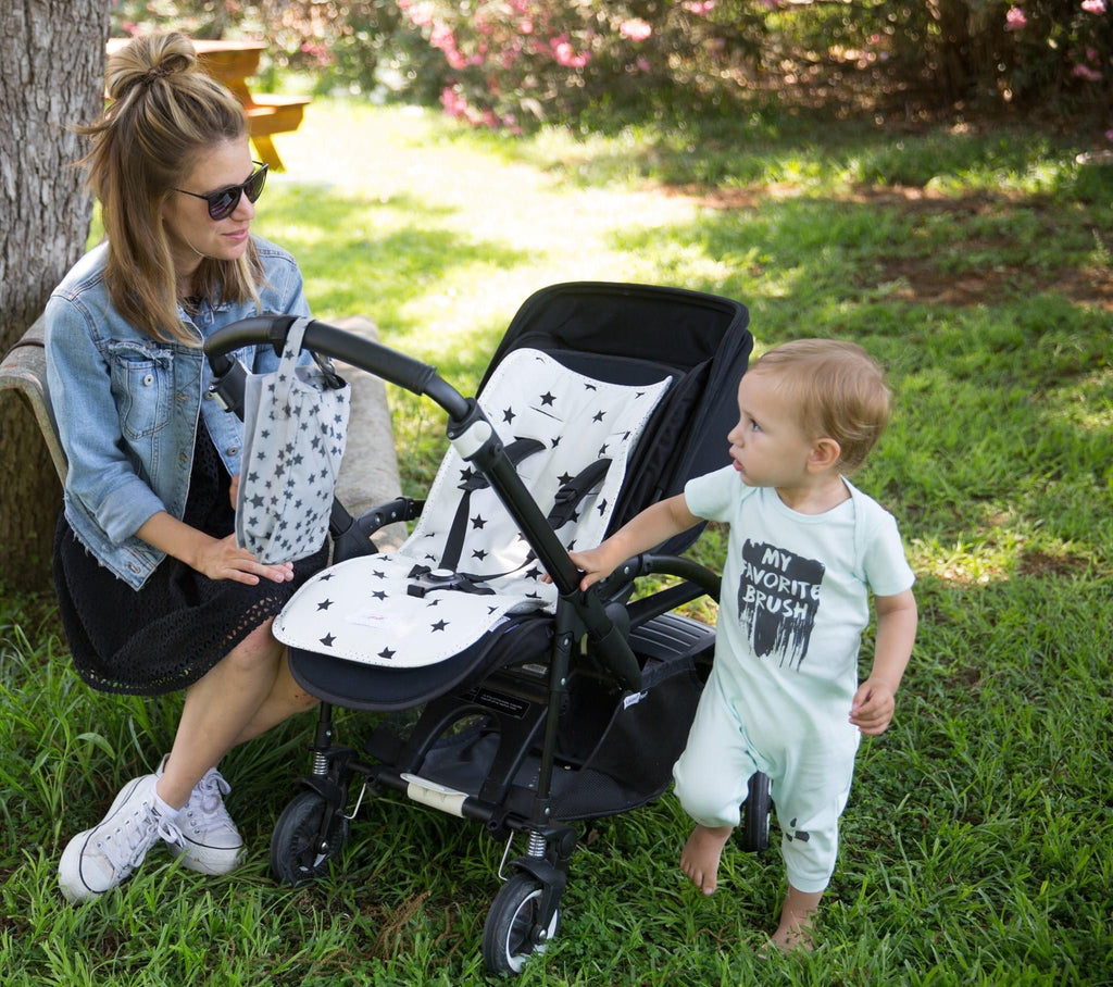 Reversible Pushchair Liner - Cream and Black Stars