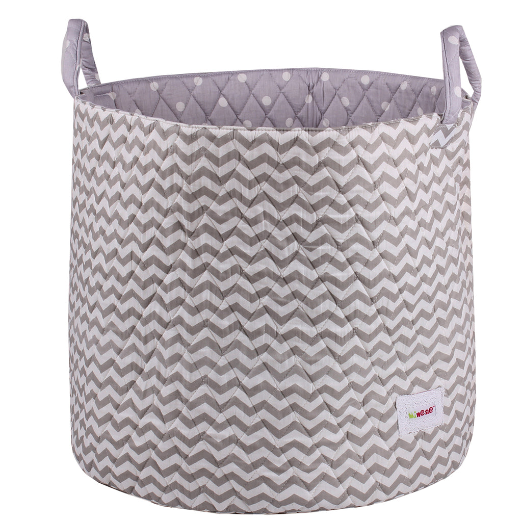 Fabric Storage Basket, Large 44cm Size, Handles, Grey Fabric with White Chevron Print