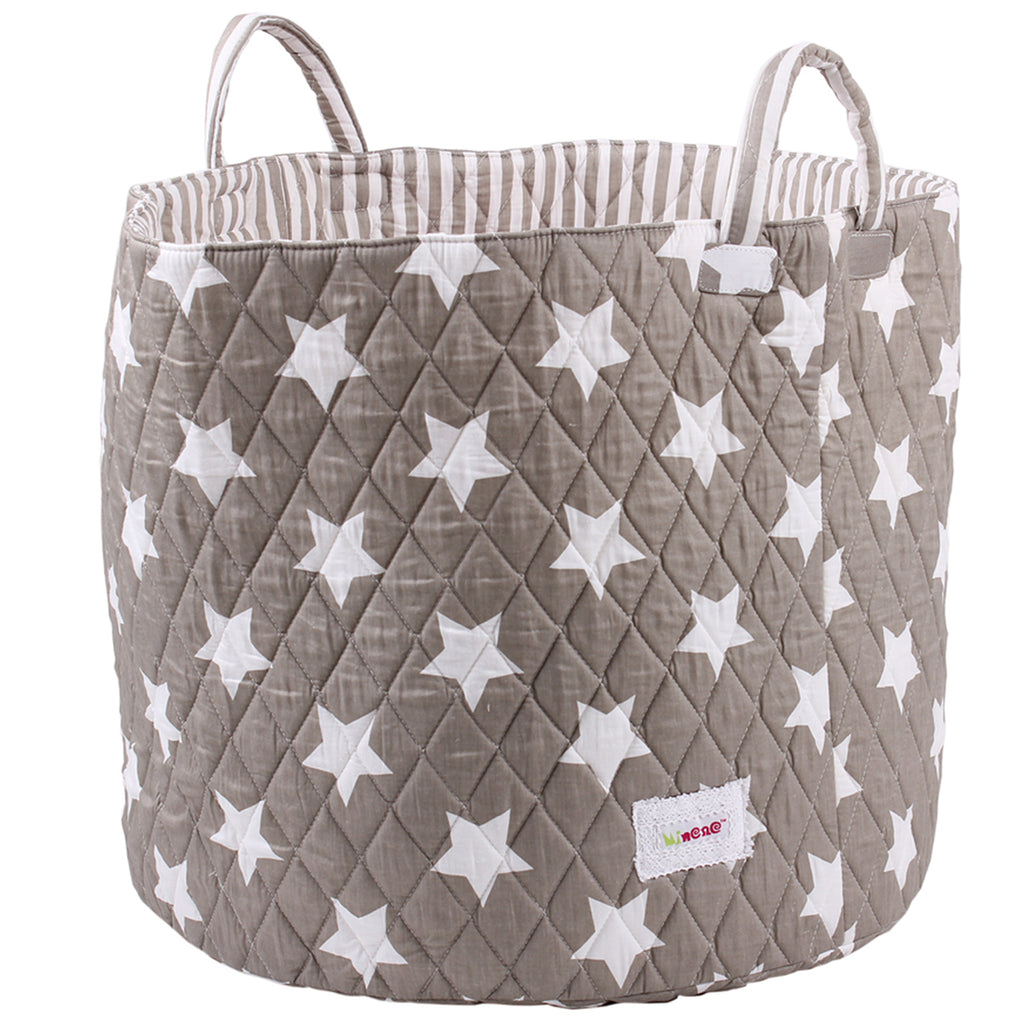 Fabric Storage Basket, Large 44cm Size, Handles, Grey Fabric with White Star Print