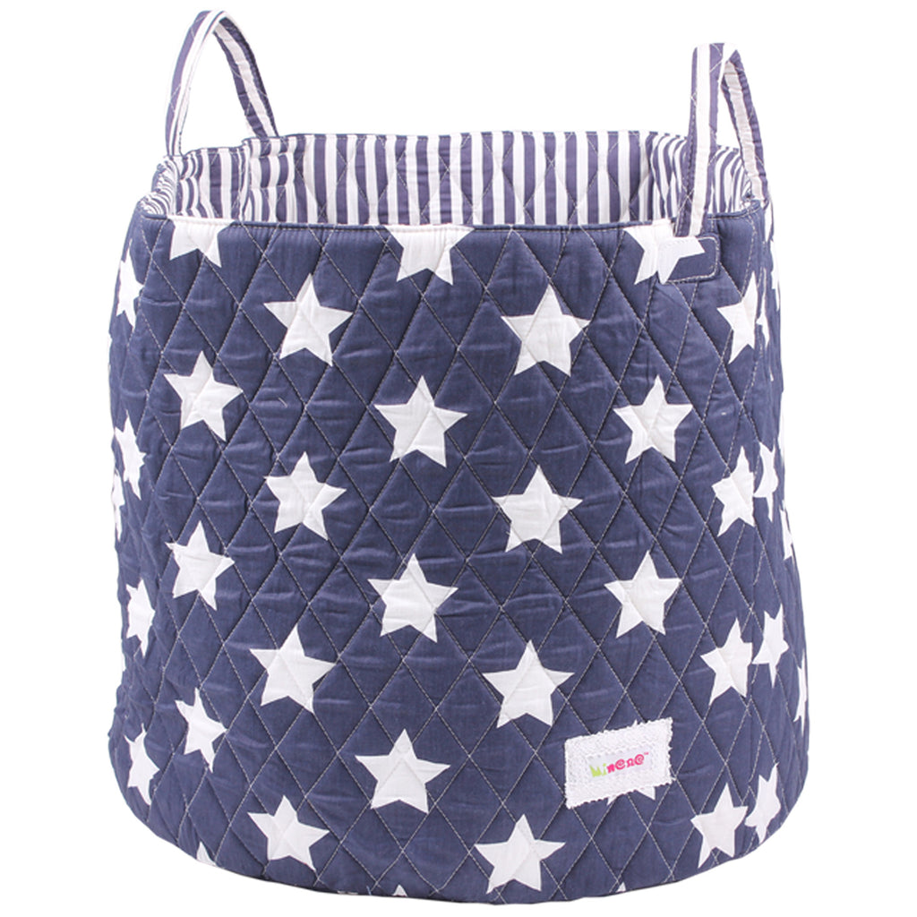 Fabric Storage Basket, Large 44cm Size, Handles, Navy Fabric with White Star Print