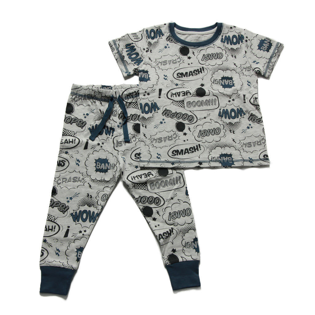 Boy's Pyjamas - Grey Comic Book Print- 3-5y