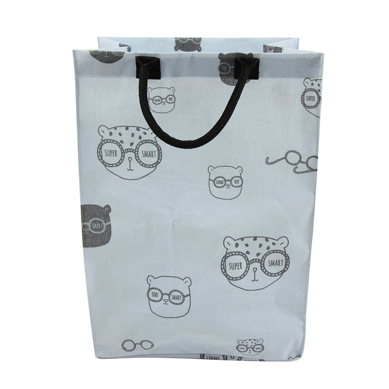 lightweight blue laundry bag with cute leopard faces