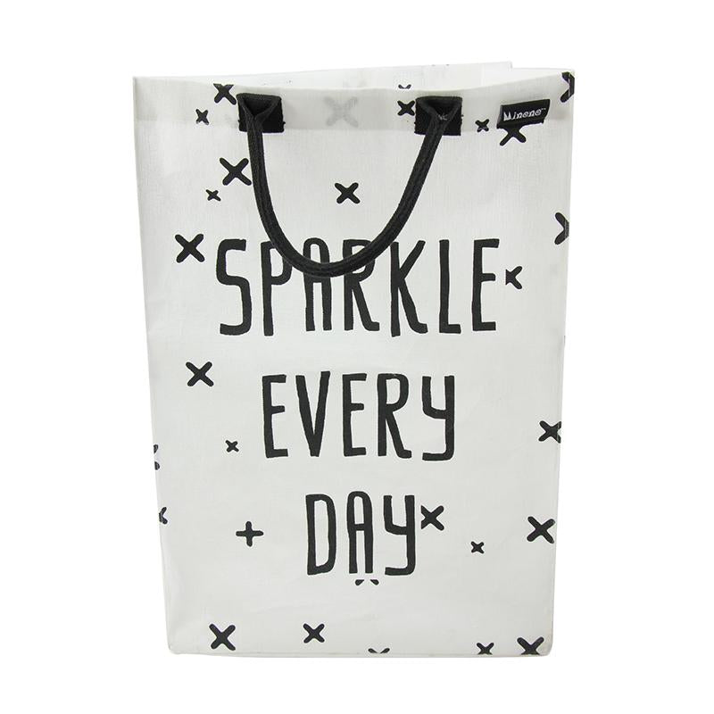 white and black lightweight laundry bag Sparkle Every Day