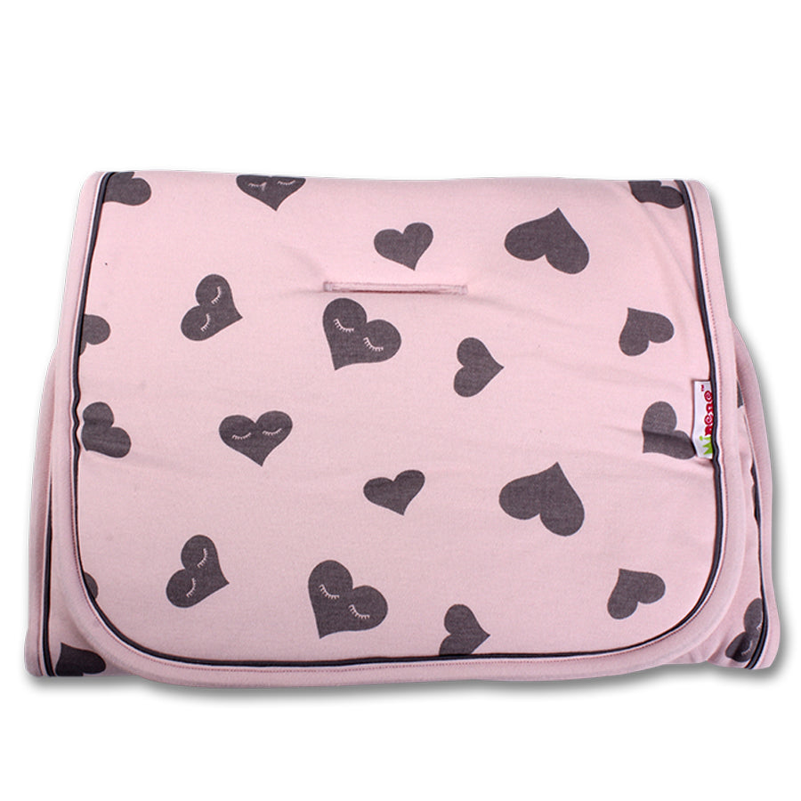 Universal Pushchair/Buggy Liner - Light Pink Liner with Grey Heart Print