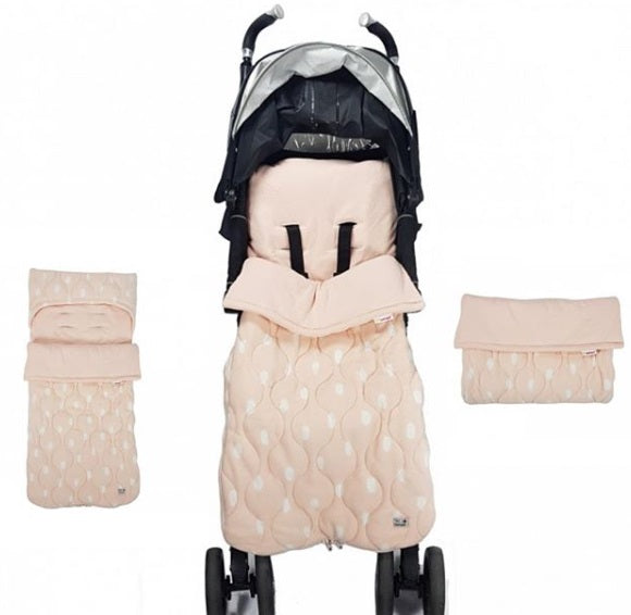 2 in 1 footmuff and liner Light Pink Fleece with White Spots.