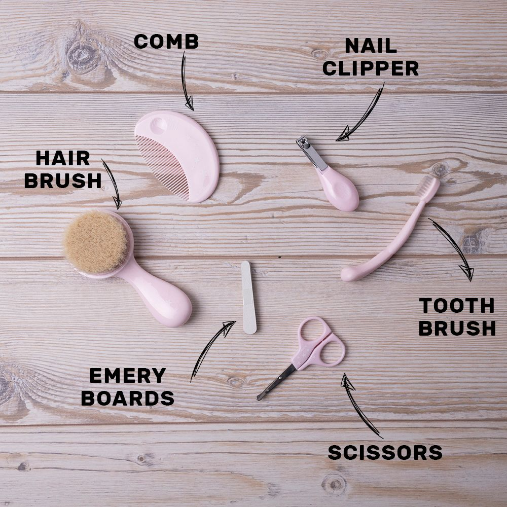 Pink set comes packed in a clear travel case and includes a soft bristle brush made from natural hair, comb, nail scissors with rounded edges, nail clippers, soft toothbrush and nail file.
