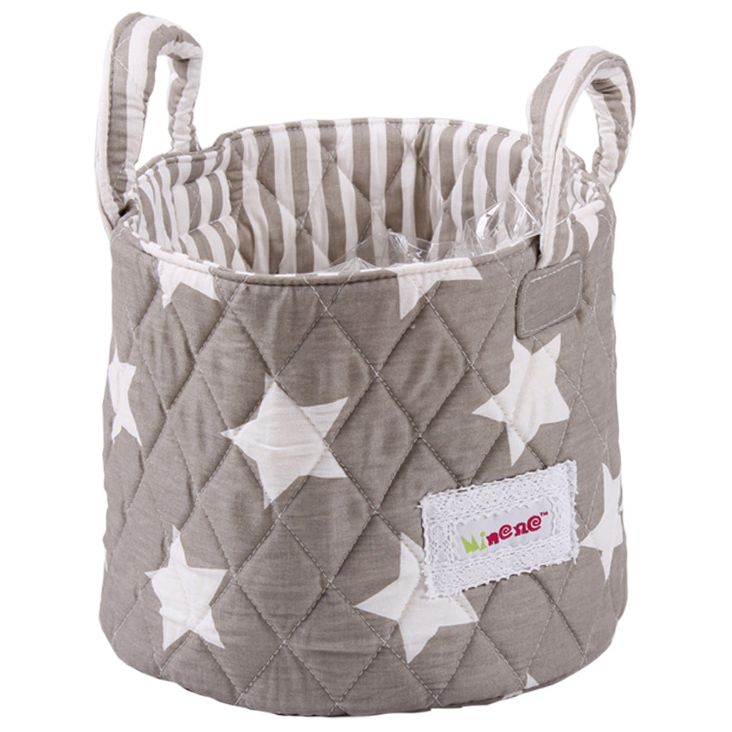 Fabric Storage Basket Small 22*18cm Size, Handles, Grey Fabric with White Star Print