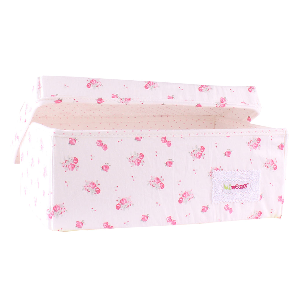Fabric Storage Box Small 32cm Size, Rigid Sides, Cream Fabric with Pink Floral Print