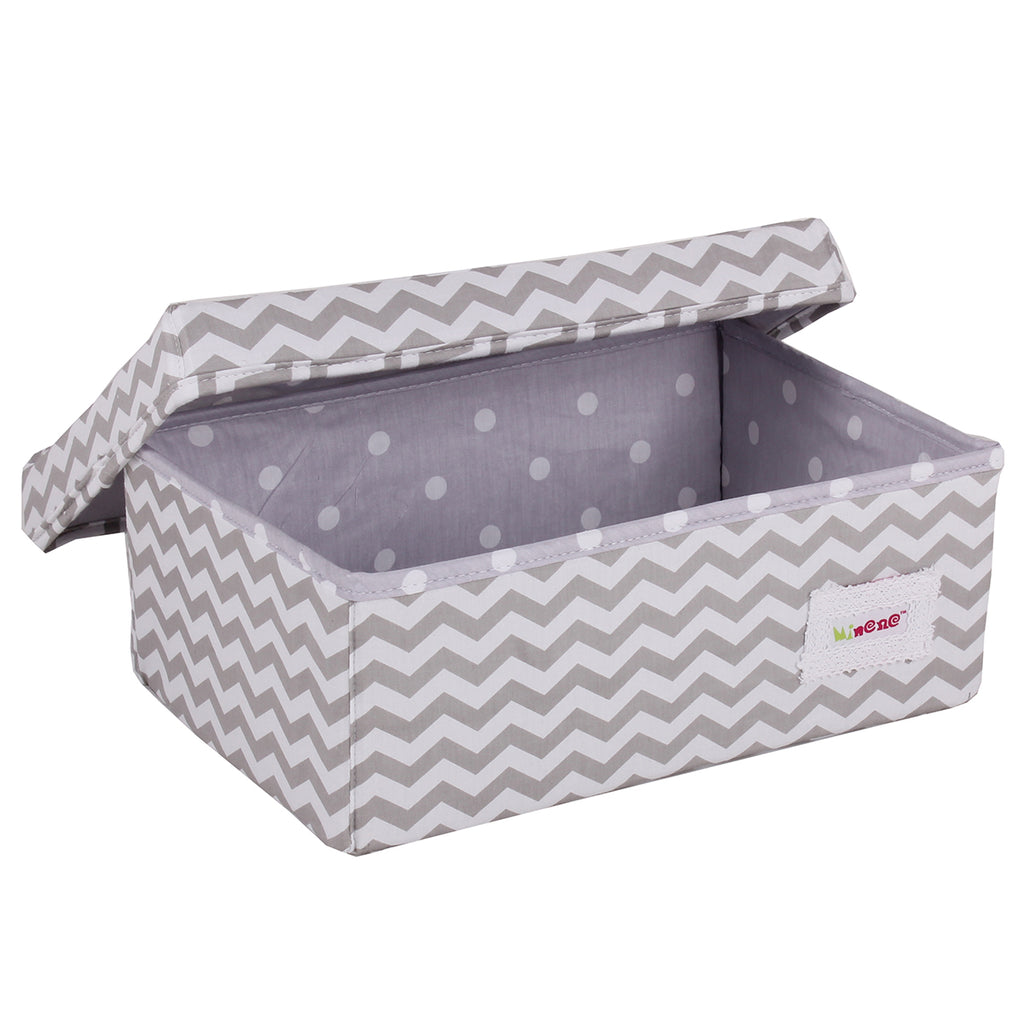 Small Minene Storage Box//White and Grey Scribble Dots