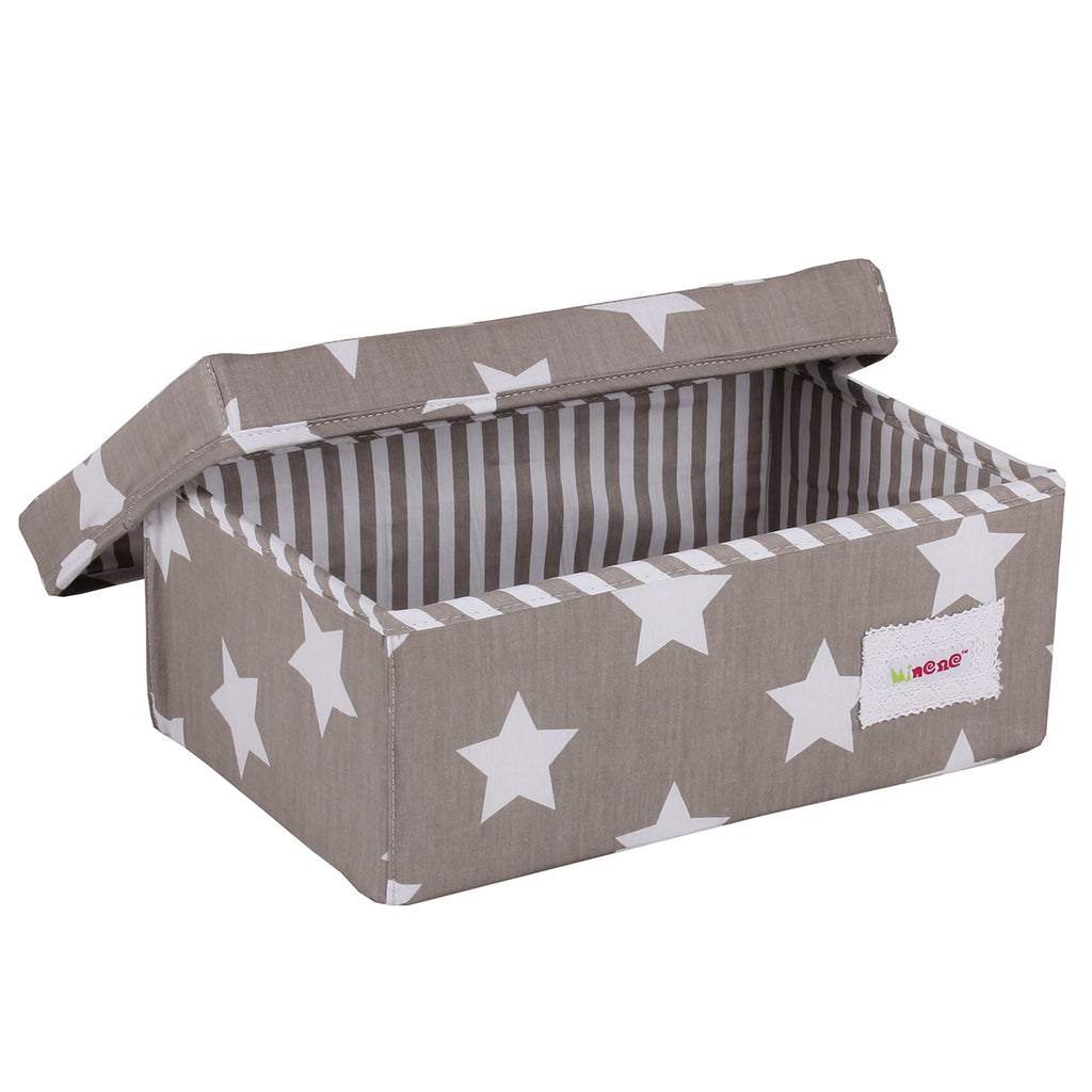 Fabric Storage Box Small 32cm Size, Rigid Sides, Grey Fabric with White Star Print