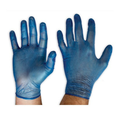 DISPOSABLE-BLUE VINYL GLOVES -DVBPF  POWDER FREE