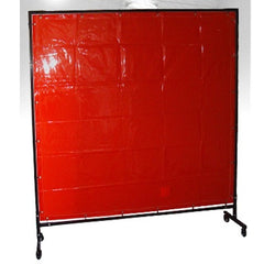 RED WELDING CURTAIN WITH FRAME