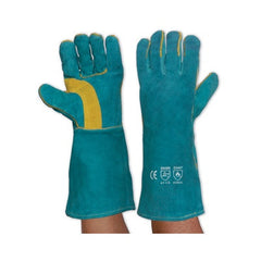 GAUNTLETS-SOUTH PAW LEFT HAND PAIR - GREEN & GOLD KEVLAR GLOVE