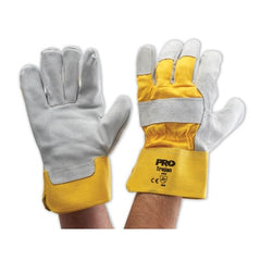 WORK GLOVES-YELLOW GREY LEATHER GLOVE